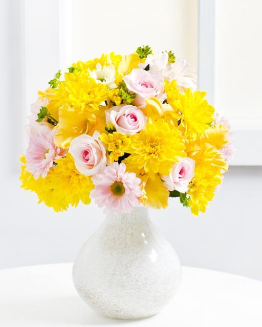 Puokštė su geltonomis chrizantemomis