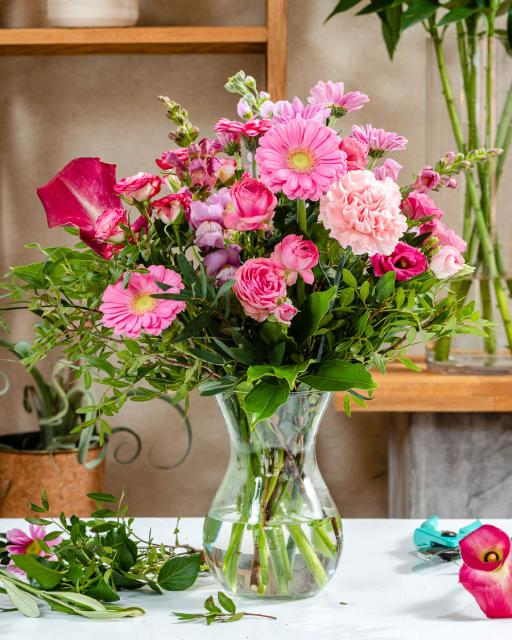Laiminga ir rožinė - floristo fantazija