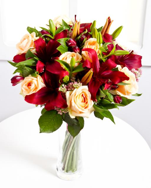Elegant Bouquet with Red Lilies