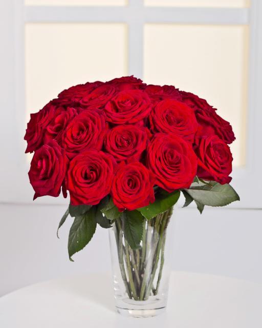 15 raudonų rožių puokštė