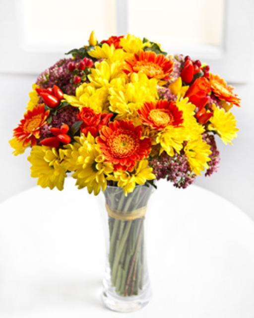 Sezoninių gėlių puokštė
